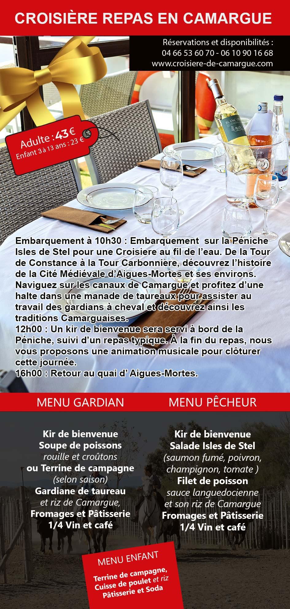 bon cadeau croisière repas en Camargue